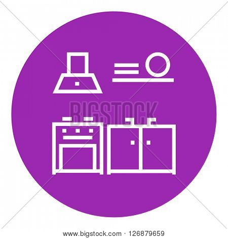 Kitchen interior line icon.