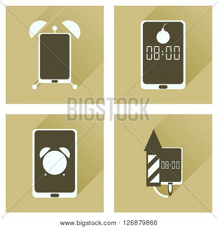 Concept of flat icons with long shadow  Mobile Phone Service