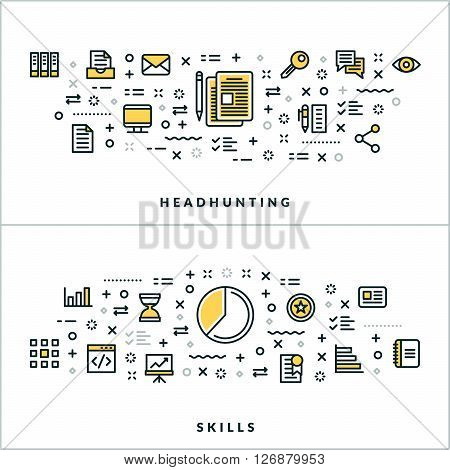 Vector Thin Line Headhunting and Skills Concepts. Vector Illustration for Website Banner or Header. Flat Line Icons and Design Elements