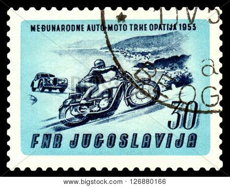 STAVROPOL RUSSIA - MARCH 30 2016: a stamp printed in Jugoslavia shows Motorcycle & auto at Opatija cirka 1985