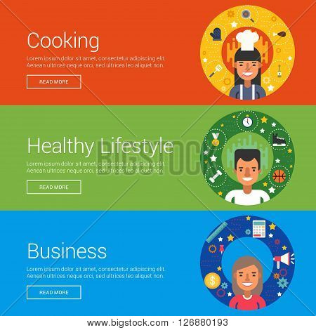 Cooking. Healthy Lifestyle. Business. Flat Design Vector Illustration Concepts for Web Banners and Promotional Materials