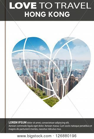 Photo Of Hong Kong In Shape Of A Heart. Cover Design, Brochures, Flyers. With Space For Text