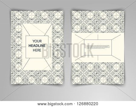 Abstract light geometric design with interweaving of thin lines. Vector template layout in mono line style for magazine brochure flyer booklet cover annual report in A4 size.