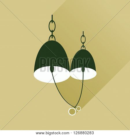 Flat web icon with long shadow Bells wedding rings