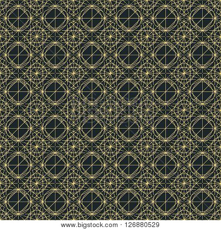 Vector dark seamless pattern with interweaving of thin lines. Decoration graphic in mono line style. Simple abstract ornamental gray and gold illustration. Linear, art deco, vintage, hipster style.