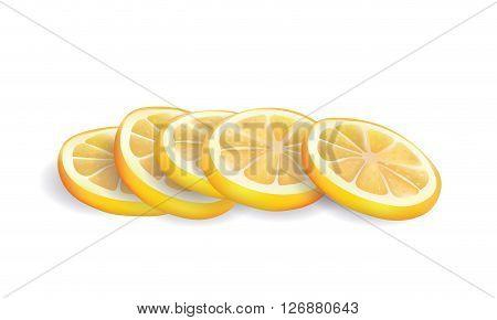 Vector Illustration of Realistic Yellow Fresh Lemon Slices Isolated on White background