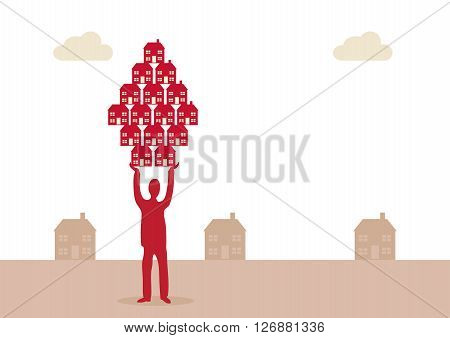 A vector illustration of a man holding up a group of houses to represent his propety business. A metaphor on property investment success.