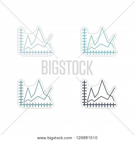 Set of paper stickers on white  background economic graph
