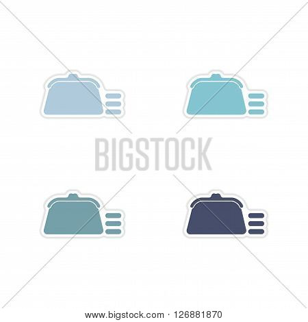 Set of paper stickers on   white background coin purse