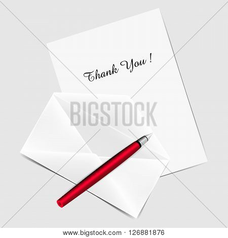 Greeting card with title Thank You Red pen and envelope. Vector illustration.