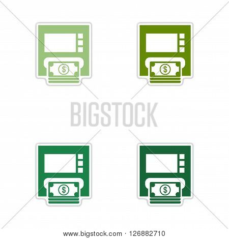 Set of paper stickers on white  background ATM money