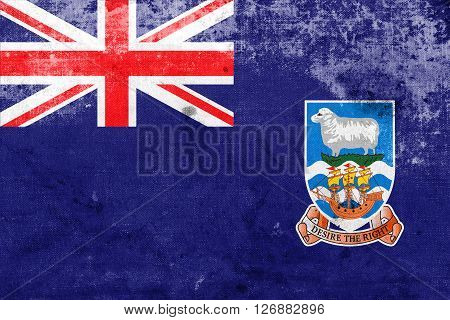 Flag Of Falkland Islands, With A Vintage And Old Look