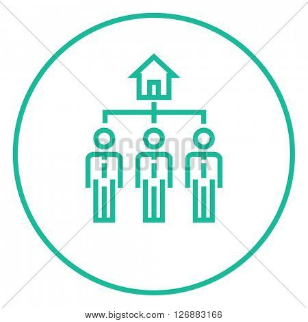 Three real estate agents line icon.