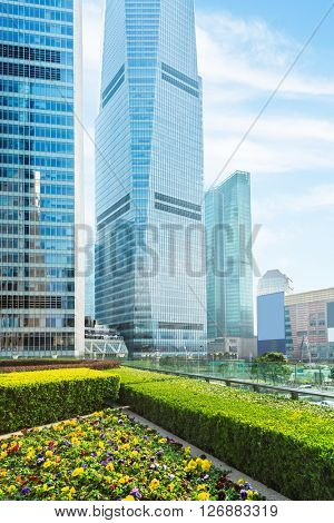 cityscape under the blue sky,shanghai china.