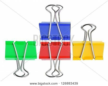 Colored Foldback Paperclips on Isolated White Background