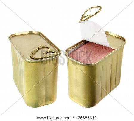 Two Cans of Luncheon Meat on White Background