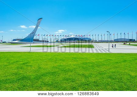 Sochi Russia May 11 2015: View of objects of Olimpic park - place of Winter Olimpic games 2014.