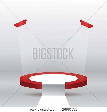 Empty illuminated red stage podium vector illustration with white carpet