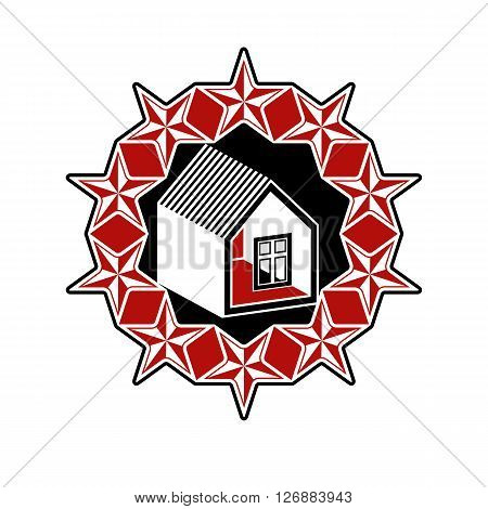 Solidarity idea vector icon simple house surrounded with festive stars. Stylized design element union theme.