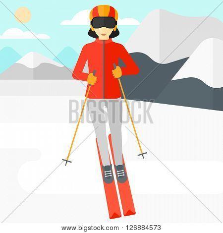 Young woman skiing.