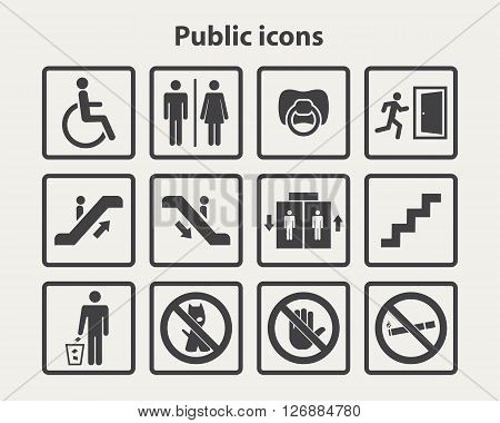 Public information icon set.Service signs icon set .Vector public sign isolated on a white background