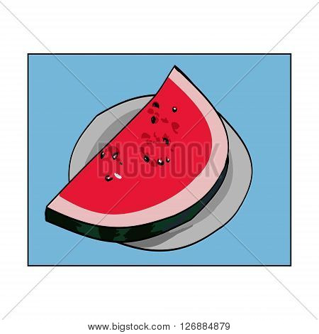 Color image a single slice of ripe watermelon. The melon slice is on the plate. Vector illustration with blue background
