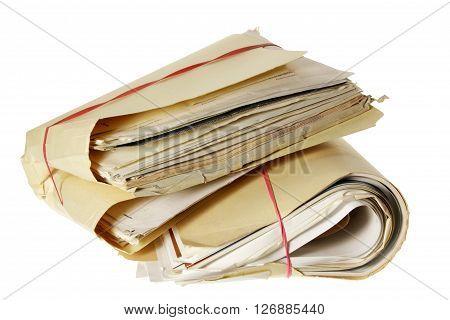 Bundles of Documents on Isolated White Background