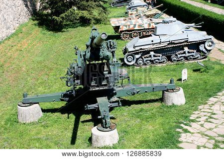 belgrade, april 15. 2016 - machine and guns in belgrade fortress