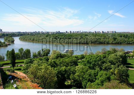 Confluence of the river Sava and Danube in Belgrade with the beautiful view