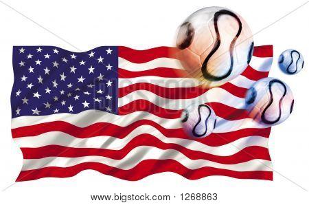 Usa Flag And Footballs