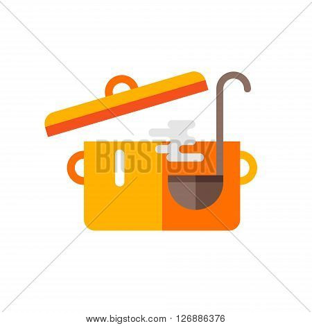 Pot of Soup and Ladle. Cooking Concept. Vector Illustration in Flat Design Style