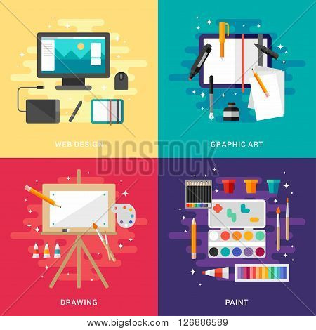 Set of Graphic Art Conceptual Illustrations. Web Design Graphic Art Drawing Paint. Flat Style Vector Illustration