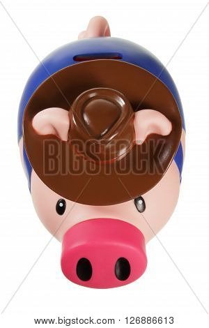 Plastic Piggy Bank on Isolated White Background
