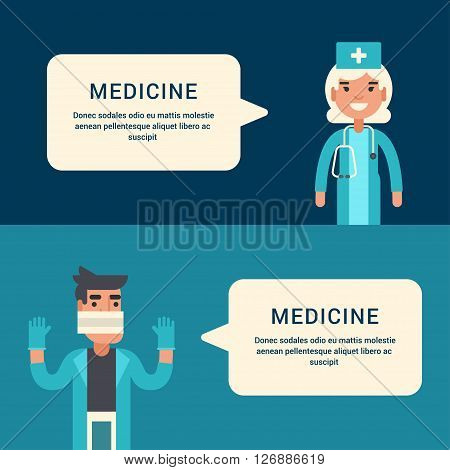 Medicine Concept. Doctor Surgeon Emergency Physician. Male and Female Cartoon Characters. Flat Style Vector Illustrations for Web Banners or Promotional Materials