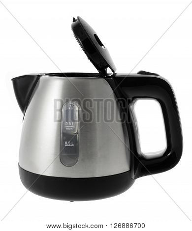 Metal Electric Kettle on Isolated White Background