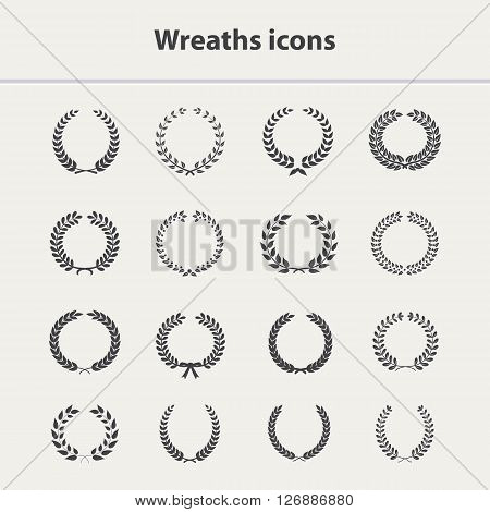 Wreath vector icons set.Wreath icon, laurel award, wreath circle.Wreath icons silhouette, laurel vector icons, wreath isolated.Wreath icons set.Laurel sign, award