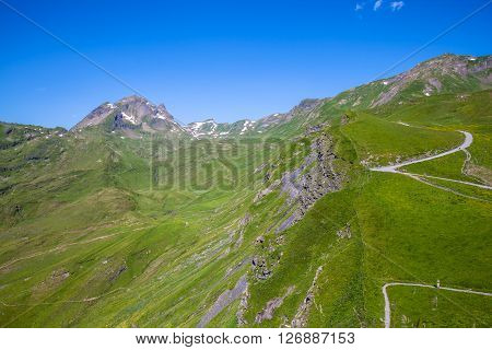 Panorama view of the Swiss Alps on Bernese Oberland from Grindelwald First in summer Switzwerland.