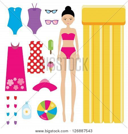 Dress the doll children game. Summer holidays theme. Fashion paper doll with outfit and accessories set. Game for girls.