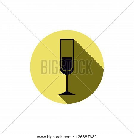 Alcohol theme icon champagne goblet placed in a circle. Colorful restaurant brand emblem.