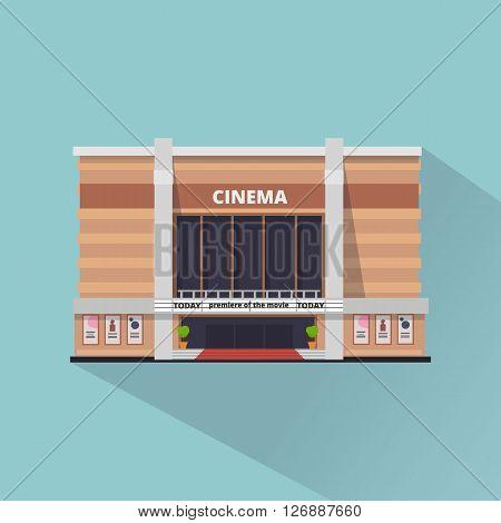 Cinema building facade. Movie Theater. Flat style