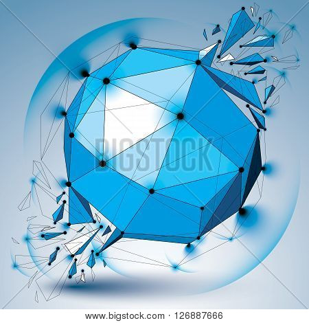 Perspective digital technology shattered shape with black lines and dots connected polygonal wireframe blue object with lens circles. Explosion effect abstract facet element cracked into fragments.