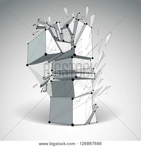 3d vector low poly number one with black connected lines and dots geometric wireframe font with refractions. Perspective shattered digit.