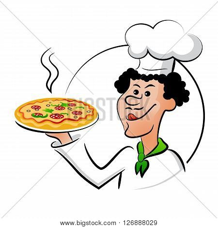 Italian chef with pizza, cook pizza. Cook holding a pizza and licked. Vector illustration isolated on a white background. The idea of signs, labels, menus, brochures, banners, covers