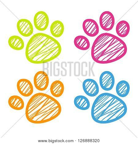 Vector Cute Cartoon Dog Paw Design Illustration