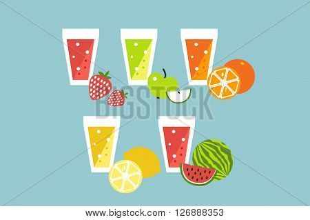 Fruit summer smoothie raw coctail set. Vector cartoon flat design icons.