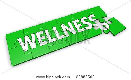 Healty lifestyle development concept with wellness sign and word on a green jigsaw pieces puzzle 3D illustration isolated on white background.