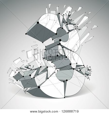 Abstract vector low poly wrecked number 3 with black lines and dots connected. 3d origami futuristic font with lines mesh.