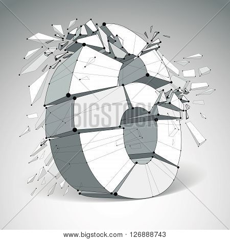 Perspective technology demolished number 6 with black lines and dots connected polygonal wireframe font. Explosion effect abstract faceted element cracked into multiple fragments.