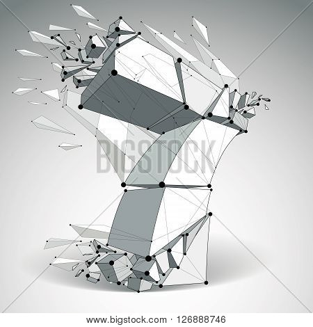 3d vector low poly number 7 with black connected lines and dots geometric wireframe font with refractions. Perspective shattered digit with thread.