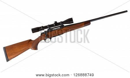 Wood stocked bolt action rifle with a high powered scope